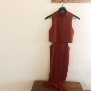 TopShop Rusty Orange Cut Out Midi Dress